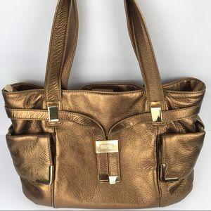 Michael Kors Metallic Bronze Leather Shoulder Bag